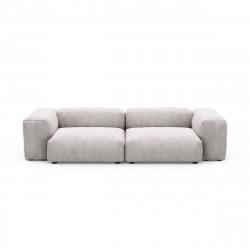 Canapé 2 à 3 places avec accoudoirs Vetsak, velours côtelé couleur platinium L.273 x H.60 x P.115,5 cm