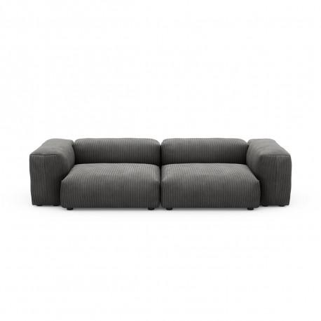 Canapé deux places avec accoudoirs taille M Vetsak, velours côtelé couleur gris foncé
