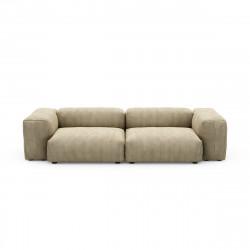 Canapé 2 à 3 places avec accoudoirs Vetsak, velours côtelé couleur vert khaki L.273 x H.60 x P.115,5 cm