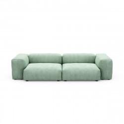Canapé 2 à 3 places avec accoudoirs Vetsak, velours côtelé couleur vert pâle L.273 x H.60 x P.115,5 cm