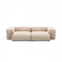 Canapé deux places avec accoudoirs taille L Vetsak, velours côtelé couleur sable