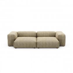 Canapé deux places avec accoudoirs taille L Vetsak, velours côtelé couleur vert khaki