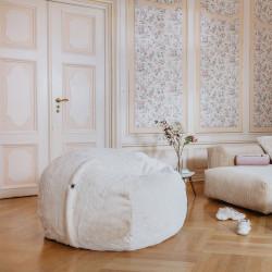 Pouf Vetsak, taille M, fausse fourrure beige, D110cm x H70 cm