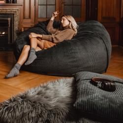 Pouf 2 places Vetsak, taille L, velours cotelé gris foncé, D140cm x H90 cm