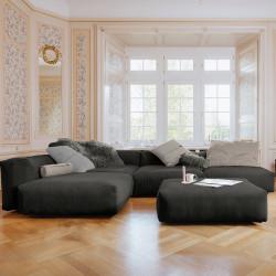Canapé d'angle Vetsak, velours côtelé gris foncé & coussins gris clair