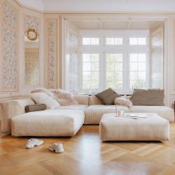 Canapé d'angle Vetsak, velours côtelé platinium & coussins gris 'stone'