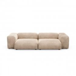 Canapé 2 à 3 places avec accoudoirs Vetsak, velours gris \'stone\' L.273 x H.60 x P.115,5 cm