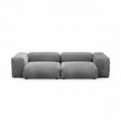 Canapé 2 à 3 places avec accoudoirs Vetsak, velours gris foncé L.273 x H.60 x P.115,5 cm
