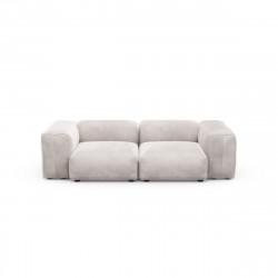 Canapé deux places avec accoudoirs taille S Vetsak, velours gris clair