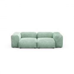 Canapé deux places avec accoudoirs taille S Vetsak, velours vert menthe