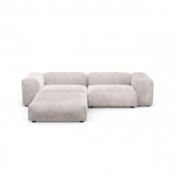 Canapé d\'angle Vetsak, velours gris clair L.231 x H.60 x P.115,5 cm