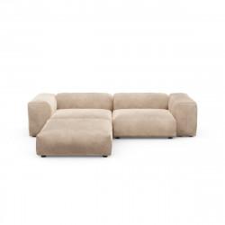 Canapé d\'angle Vetsak, velours gris \'stone\' L.231 x H.60 x P.115,5 cm