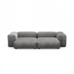 Canapé deux places avec accoudoirs taille L Vetsak, velours gris foncé