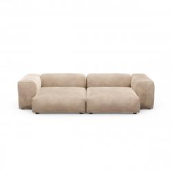 Canapé deux places avec accoudoirs taille L Vetsak, velours gris 'stone'
