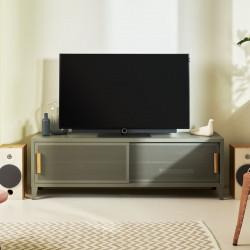 Meuble TV Hi-Fi B2 Bas Perforé 160CM, Gris souris, Tolix