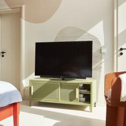 Meuble TV Hi-Fi B2 Bas Perforé 120CM, Vert Olive, Tolix