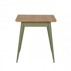 Table 55 Plateau Chêne, Vert olive, Tolix, 70 X 70 X H74 cm