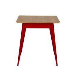 Table 55 Plateau Chêne, Rouge piment, Tolix, 70 X 70 X H74 cm