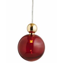 Suspension Uva, Ebb&Flow, rouge rubis, diamètre 10 cm, câble transparent, boule en laiton doré