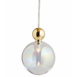 Suspension Uva, Ebb&Flow, couleur nacré, diamètre 10 cm, câble transparent, boule en laiton doré
