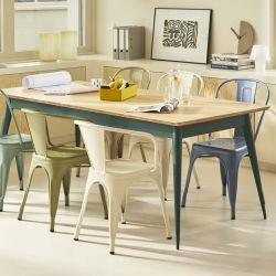 Table 55 Plateau Chêne, Vert canard, Tolix, 190 X 80 X H74 cm