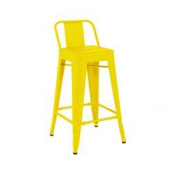 Tabouret H75 Brillant petit dossier, Tolix jaune citron