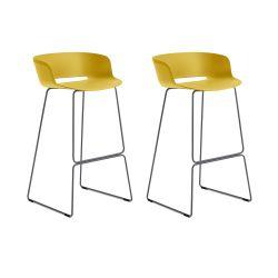 Lot de 2 tabourets Babila 2748, jaune, pieds acier noir, Pedrali, hauteur d'assise 74,5 cm
