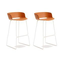 Lot de 2 tabourets Babila 2748, orange, pieds acier blanc, Pedrali, hauteur d'assise 74,5 cm