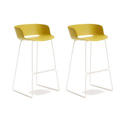 Lot de 2 tabourets Babila 2748, jaune, pieds acier blanc, Pedrali, hauteur d'assise 74,5 cm