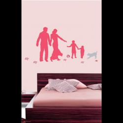 Sticker Famille rose