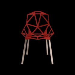 Chaise One empilable, Magis rouge, pieds aluminium poli
