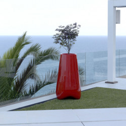 Pot de Jardin Vlek diamètre 45 cm, Vondom rouge laqué Laqué