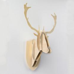 Trophée de chasse Cerf, Moustache bois naturel H 70 cm