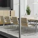 S60 Chaise en cuir, Thonet blanc, structure chrome
