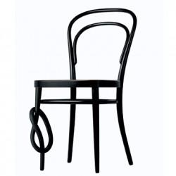 214K Chaise bistrot Thonet originale, pied noué noir