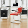 Bureau design S285, 2 blocs 5 tiroirs, Thonet noir laqué, structure chrome