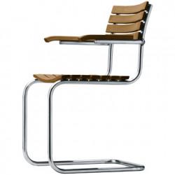 Chaise jardin avec accoudoirs S40F, Thonet bois iroko, structure chrome