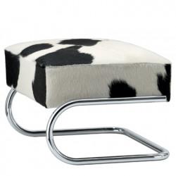 Repose pieds cuir ou peau de vache, Thonet peau de vache, structure chrome