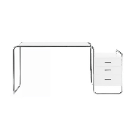 S285 -1 Bureau design Thonet, 1 bloc extérieur 3 tiroirs blanc laqué, structure chrome