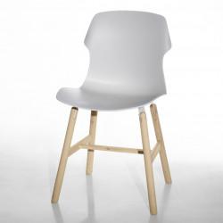 Chaise design Stereo Wood, Casamania bois naturel, blanc