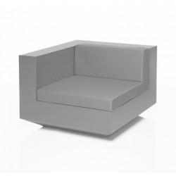 Module d'angle canapé Vela, Vondom, 100x100xH72cm gris argent