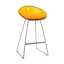 Gliss 902 tabouret sur pieds, Pedrali orange transparent, pieds chrome