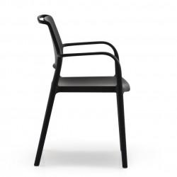 Lot de 4 chaises avec accoudoirs Ara 315, Pedrali noir