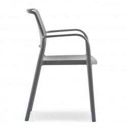 Lot de 4 chaises avec accoudoirs Ara 315, Pedrali gris