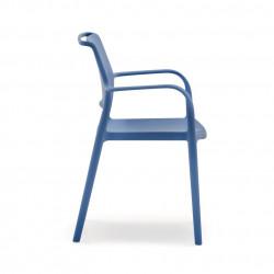 Lot de 4 chaises avec accoudoirs Ara 315, Pedrali bleu