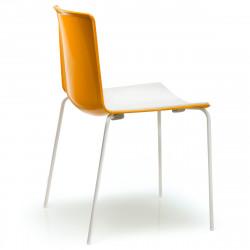 Lot de 4 chaises Tweet 890, Pedrali orange, blanc Pieds vernis