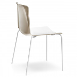 Chaise Tweet 890, Pedrali beige, blanc Pieds vernis