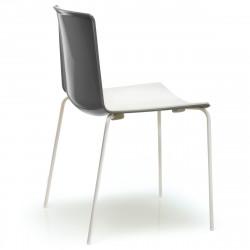 Lot 4 chaises Tweet 890, Pedrali anthracite, blanc Pieds chromés