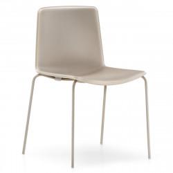 Lot de 4 chaises Tweet 890, Pedrali beige Pieds chromés