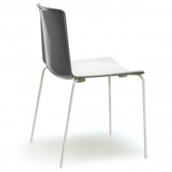 Lot de 4 chaises Tweet 890, Pedrali anthracite, blanc Pieds vernis